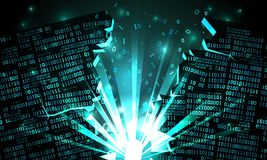 Abstract cyberspace with a hacked array of binary data, explosion with rays of light, blown-up binary code, matrix background vector illustration