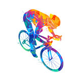 Athlete bike cyclist. Abstract cyclist on a race track from a splash of watercolors. Vector illustration of paints Royalty Free Stock Photos