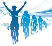 Abstract Cyclist winning the race against competit. Illustration of a Winning Athlete raising his hands in celebration of winning a race against competitors with stock illustration