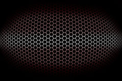 Abstract, cylindrical red background with octagonal grid Stock Images