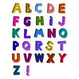 Abstract 3d alphabet drawn by. Hand, different color, cheerful cute style Royalty Free Stock Photos