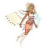 Abstract 3d angel. Digitally rendered illustration of an abstract female angel with wings on white background stock illustration