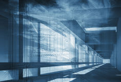 Abstract 3d architecture background with blue perspective Royalty Free Stock Photo
