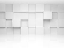 Abstract 3d architecture background with cubes. Abstract 3d architecture background with white cubes on the wall Royalty Free Stock Photo