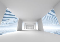 Abstract 3d architecture background, empty corridor. Abstract 3d architecture background, empty white corridor royalty free illustration