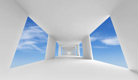 Abstract 3d architecture, empty white corridor. And blue sky royalty free illustration