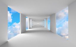 Abstract 3d architecture, empty white corridor. With sky Stock Photos