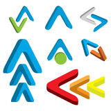 Abstract 3d arrow icon set Royalty Free Stock Images