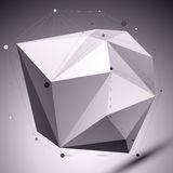 Abstract 3D asymmetric polygonal vector network pattern, graysca Royalty Free Stock Photography