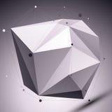 Abstract 3D asymmetrisch veelhoekig vectornetwerkpatroon, graysca stock illustratie