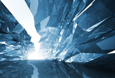 Abstract 3d background. Bent crystal corridor. With rugged walls and glowing end Royalty Free Stock Images