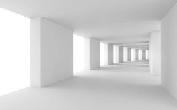 Abstract 3d background, bent white corridor. Abstract architecture 3d background, empty bent white corridor Stock Photos