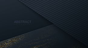 Abstract 3d background with black paper layers. Vector geometric illustration of carbon sliced shapes textured with golden glittering dots. Graphic design vector illustration