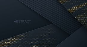 Abstract 3d background with black paper layers. Vector geometric illustration of carbon sliced shapes textured with golden glittering dots. Graphic design Stock Photography