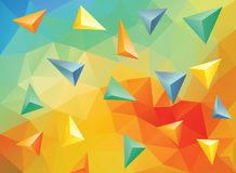Triangle 3D. Abstract 3D background in bright colors, colorful smooth low poly template, editable and layered stock illustration