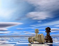 Abstract 3d background with chess pawns. Competition and success idea Stock Photos