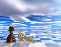 Abstract 3d background with chess pieces. Abstract surreal blue 3d background with chess pieces stock illustration