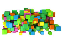 Abstract 3D background with colored cubes. On white Royalty Free Stock Photography