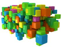 Abstract 3D background with colored cubes. On white Royalty Free Stock Images