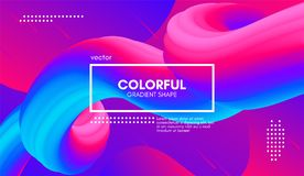 Abstract 3d Background. Colorful Wave Fluid Shape. Abstract 3d Gradient Background with Colorful Liquid. Modern Wave Flow Shape. Vector Illustration. Trendy 3d Royalty Free Illustration