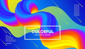 Abstract 3d Background. Colorful Wave Fluid Shape. Abstract Wave 3d Background with Colorful Liquid. Vector Illustration. Trendy 3d Fluid Design for Business Royalty Free Illustration