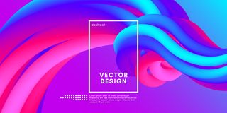 Abstract 3d Background. Colorful Wave Fluid Shape. Colorful Fluid Shape. Vector Illustration. 3d Abstract Background. Flow Vibrant Gradient. Modern Color Wave Stock Illustration