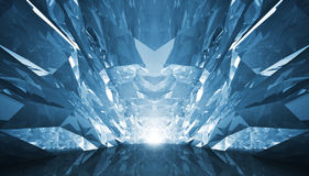 Abstract 3d background. Crystal corridor with rugged walls and g. Lowing end vector illustration