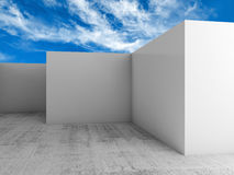 Abstract 3d background, empty white room interior. Under blue cloudy sky Stock Photo