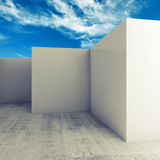 Abstract 3d background, empty white room interior. Under cloudy blue sky Royalty Free Stock Photo