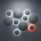 Abstract 3d background with glowing spheres. Abstract 3d geometric background with illuminated spheres Stock Illustration