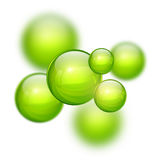 Abstract 3D background. With green balls, blurred mesh gradients vector design Royalty Free Stock Images