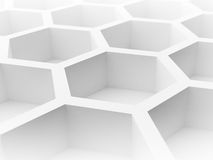 Abstract 3d background with honeycomb. Abstract 3d architecture background with white honeycomb structure Royalty Free Stock Photo