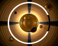 Abstract 3d background illustration. Geometrical golden gilding. Abstract 3d futuristic background illustration. Geometrical golden gilding circles are spiraling Royalty Free Stock Image