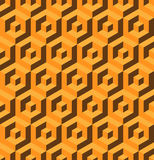 Abstract 3D background of isometric hexagonal shapes. Golden vector seamless pattern design.  royalty free illustration