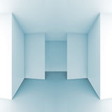 Abstract 3d background, light blue empty room interior. Abstract architectural 3d background, light blue empty room interior, square composition Royalty Free Stock Photo