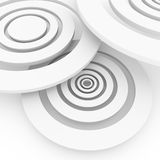 Abstract 3D background. Light discs arranged in three-dimensional space on a white background Royalty Free Stock Photography