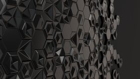 Abstract 3d background made of black hexagons. On black background. Wall of hexagons. Honeycomb pattern. 3D render illustration Royalty Free Stock Photography