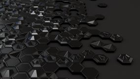 Abstract 3d background made of black hexagons. On black background. Wall of hexagons. Honeycomb pattern. 3D render illustration Stock Photos