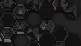 Abstract 3d background made of black hexagons. On black background. Wall of hexagons. Honeycomb pattern. 3D render illustration Stock Photo