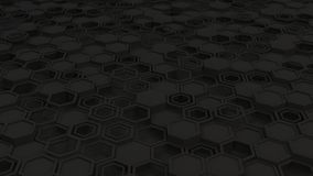 Abstract 3d background made of black hexagons. Wall of hexagons. Honeycomb pattern. 3D render illustration Royalty Free Stock Photography