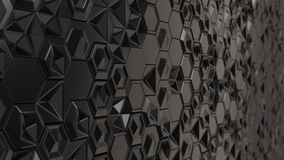 Abstract 3d background made of black hexagons. On white background. Wall of hexagons. Honeycomb pattern. 3D render illustration Royalty Free Stock Images