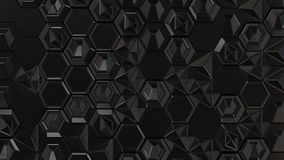 Abstract 3d background made of black hexagons. On white background. Wall of hexagons. Honeycomb pattern. 3D render illustration Stock Photos