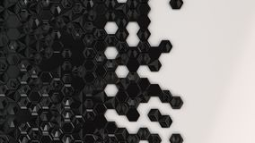 Abstract 3d background made of black hexagons. On white background. Wall of hexagons. Honeycomb pattern. 3D render illustration Stock Photography