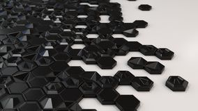 Abstract 3d background made of black hexagons. On white background. Wall of hexagons. Honeycomb pattern. 3D render illustration Stock Photo