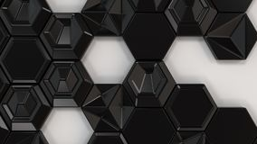 Abstract 3d background made of black hexagons. On white background. Wall of hexagons. Honeycomb pattern. 3D render illustration Royalty Free Stock Image