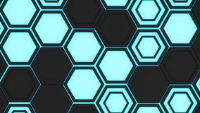 Abstract 3d background made of black hexagons on blue glowing background Royalty Free Stock Photos