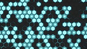 Abstract 3d background made of black hexagons on blue glowing background Stock Photos