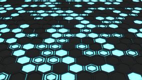 Abstract 3d background made of black hexagons on blue glowing background Stock Photography