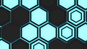 Abstract 3d background made of black hexagons on blue glowing background Royalty Free Stock Image