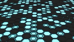 Abstract 3d background made of black hexagons on blue glowing background Royalty Free Stock Images